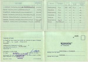 Historie 1988 Registrierkarte für Tanzkapellen